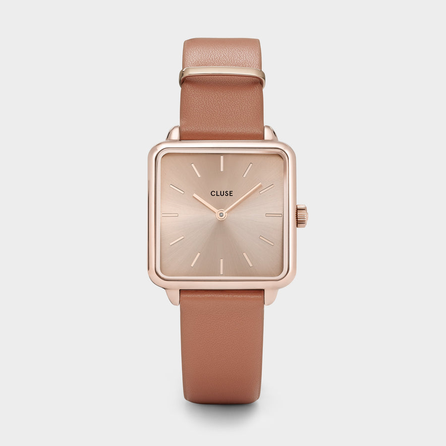 CLUSE La Tétragone Leather Rose Gold Soft Rose Gold/Butterscotch CW0101207008 - Orologio