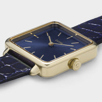 CLUSE La Tétragone Leather Gold Blue/Blue Alligator - Dettaglio cassa orologio