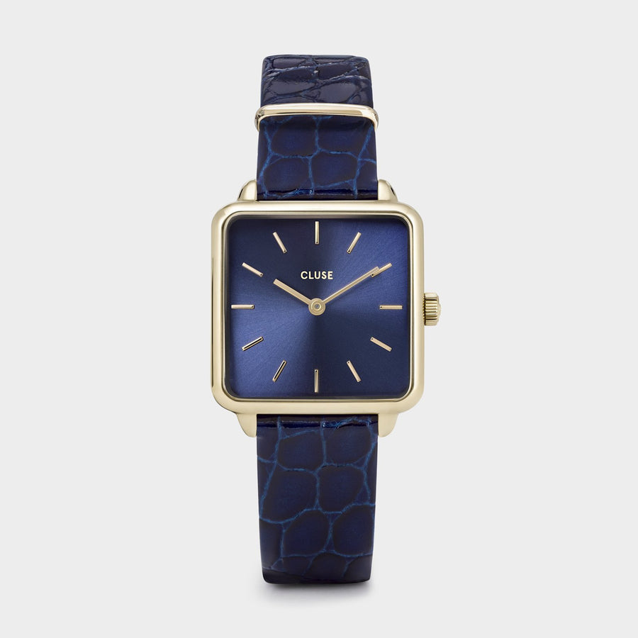 CLUSE La Tétragone Leather Gold Blue/Blue Alligator - Orologio
