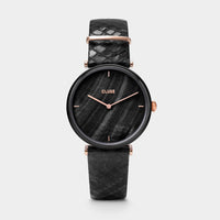 CLUSE Triomphe Leather, Black, Black Pearl/Black Python - Orologio