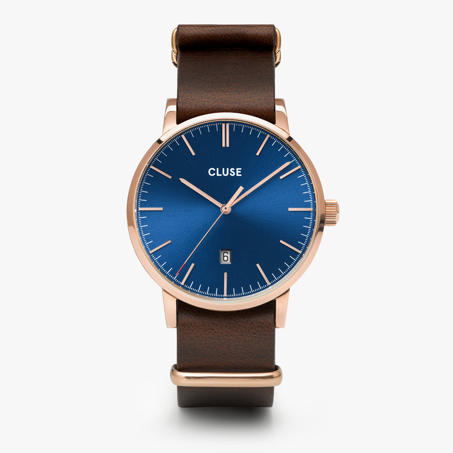 CLUSE Aravis nato leather rose gold dark blue/dark brown CW0101501009 - Orologio
