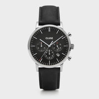 CLUSE Aravis chrono leather silver black/black CW0101502001 - Orologio