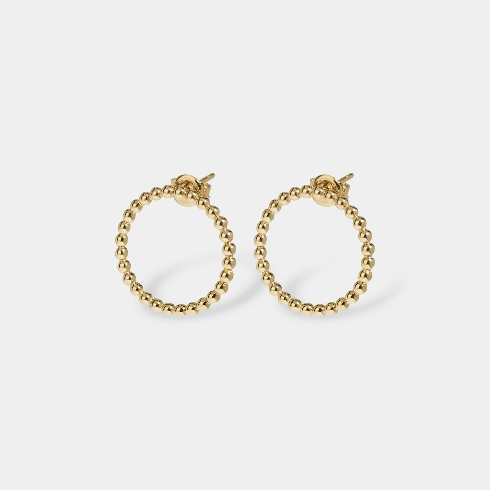 Essentielle Gold Open Circle Embellished Stud Earrings CLJ51007 - Orecchini-