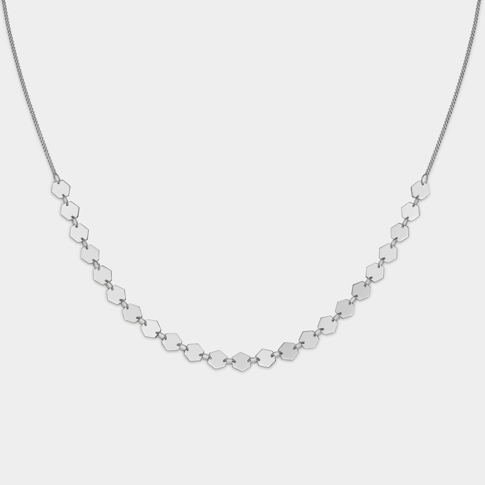 CLUSE Essentielle Silver All Hexagons Choker Necklace CLJ22003 - Collana