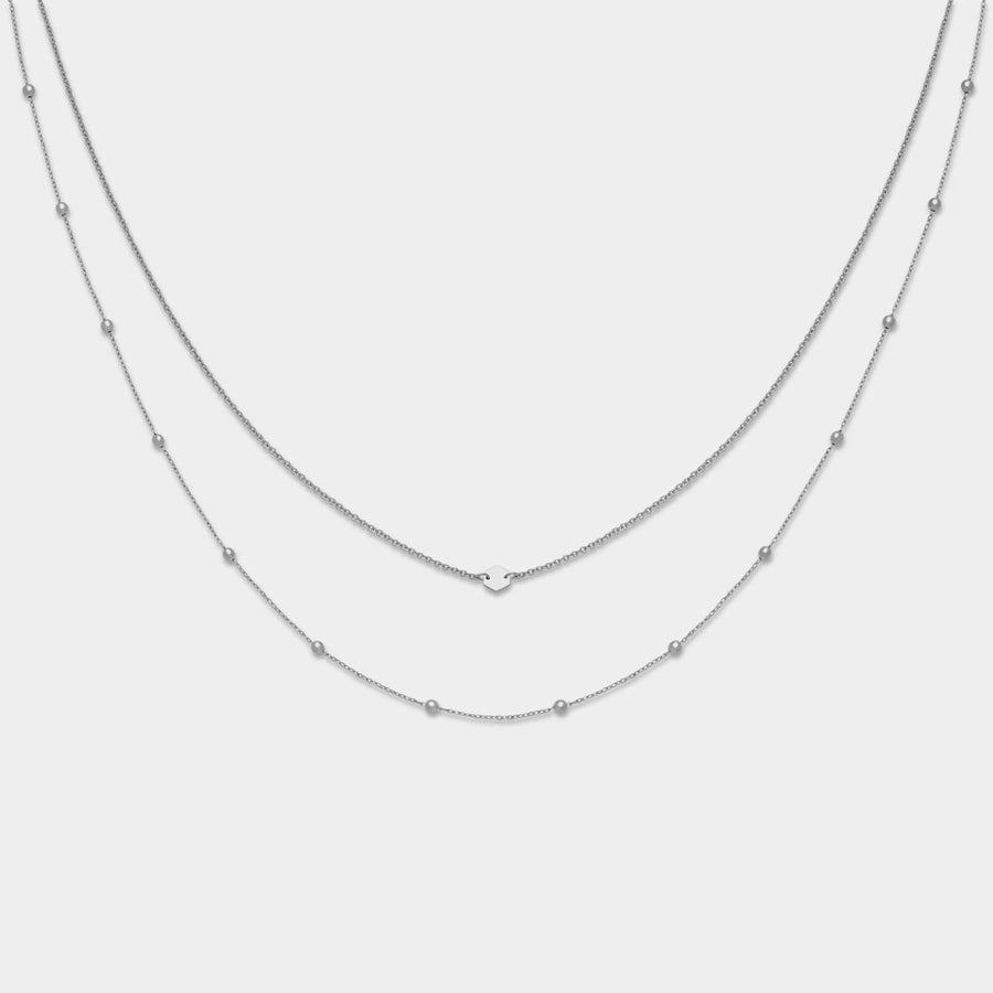 CLUSE Essentielle Silver Set of Two Necklaces With Petite Hexagon CLJ22004 - Collana