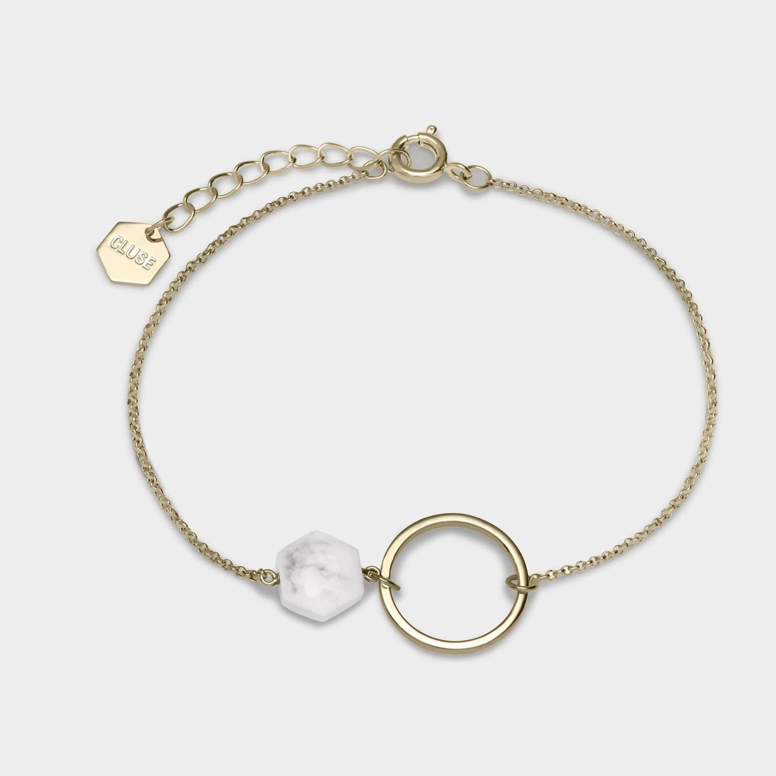 CLUSE Idylle Gold Open Circle Marble Hexagon Chain Bracelet CLJ11008 - Bracciale