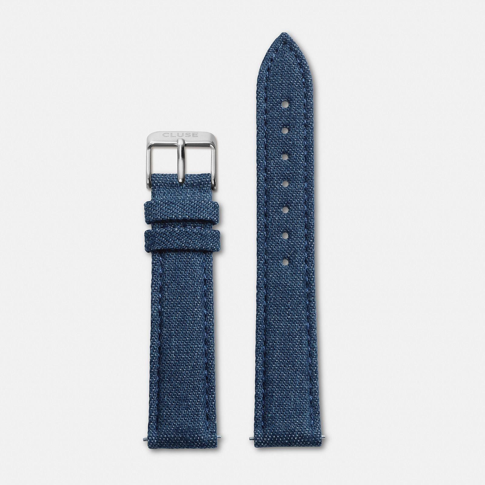 CLUSE 18 mm Strap Blue Denim/Silver CLS031 - Cinturino