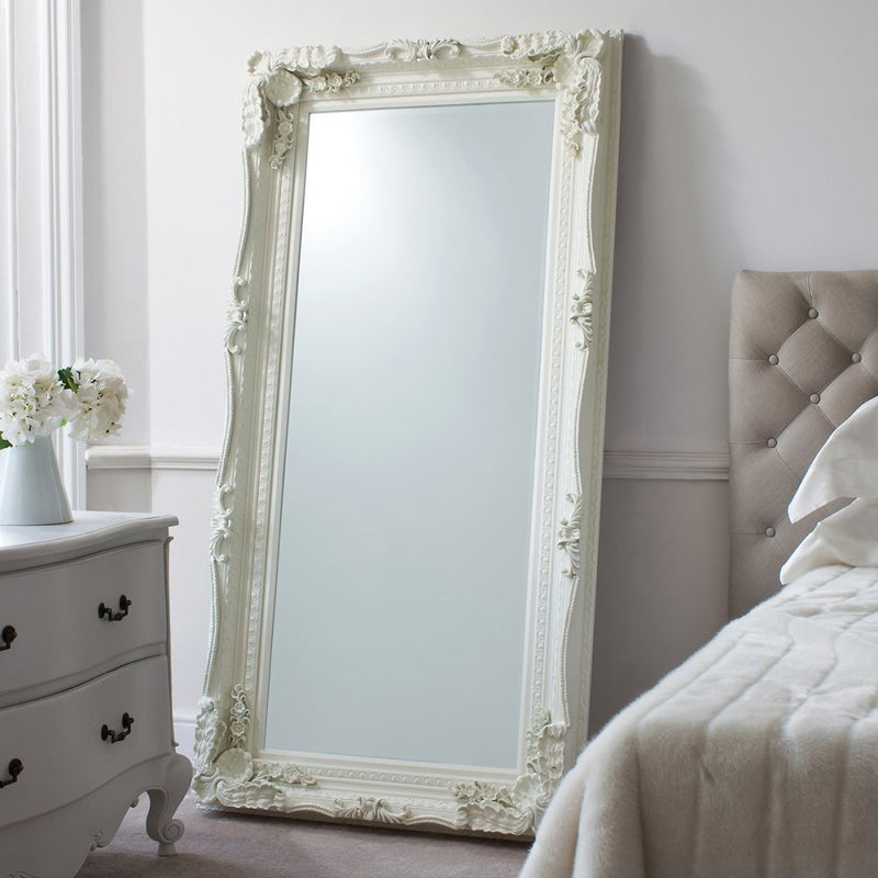 Carved Alexandre Leaner Mirror Cream 1755x895mm