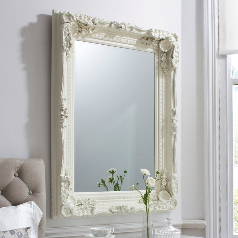 Carved Alexandre Mirror Cream 1200x895mm