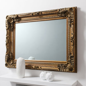 Carved Alexandre Mirror Gold 1200x895mm