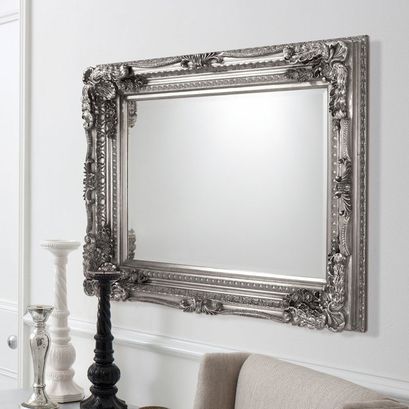 Carved Alexandre Mirror Silver 1200x895mm