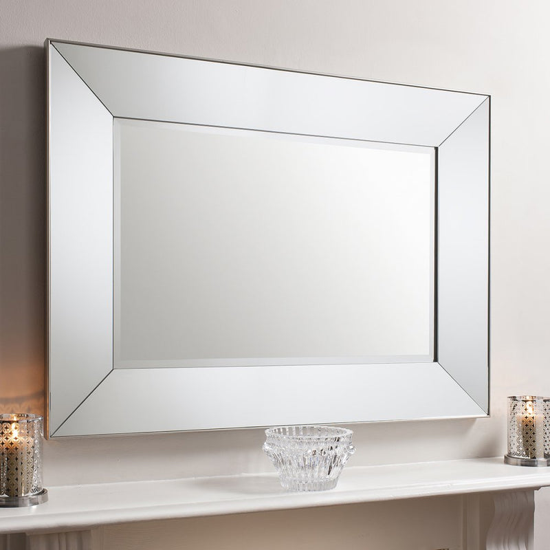 Valera Rectangle Mirrored Frame Wall Mirror Silver 1220x915mm - House of Isabella AU