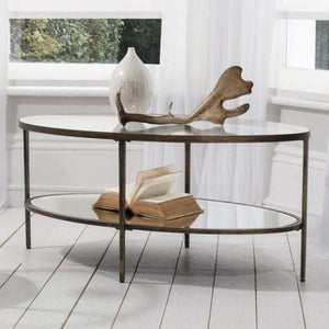 Hamza Bronze Metal and Glass Coffee Table