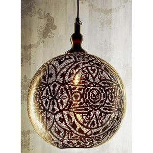 Moroccan Ball Ceiling Lamp 40cm Silver
