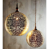 Moroccan Ball Ceiling Lamp Silver - House of Isabella AU