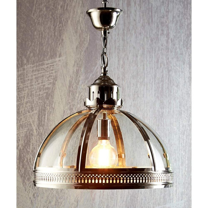 Winston Glass Pendant in Shiny Nickel - House of Isabella AU