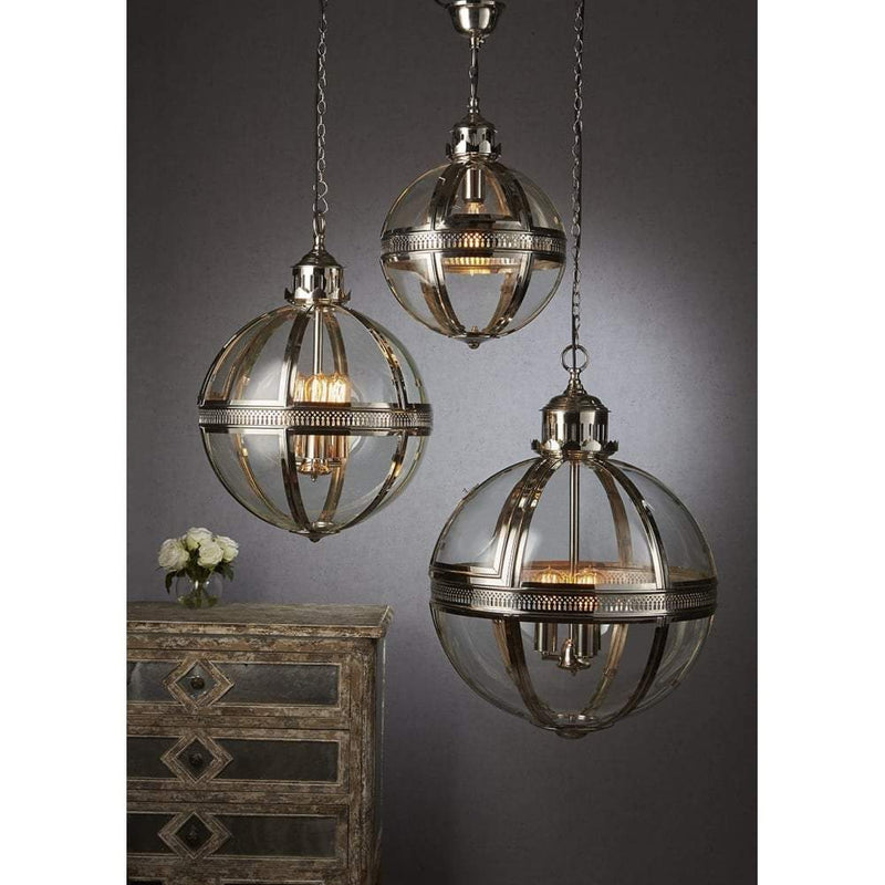 Saxon Pendant Lamp Sml Shiny Nickel - House of Isabella AU