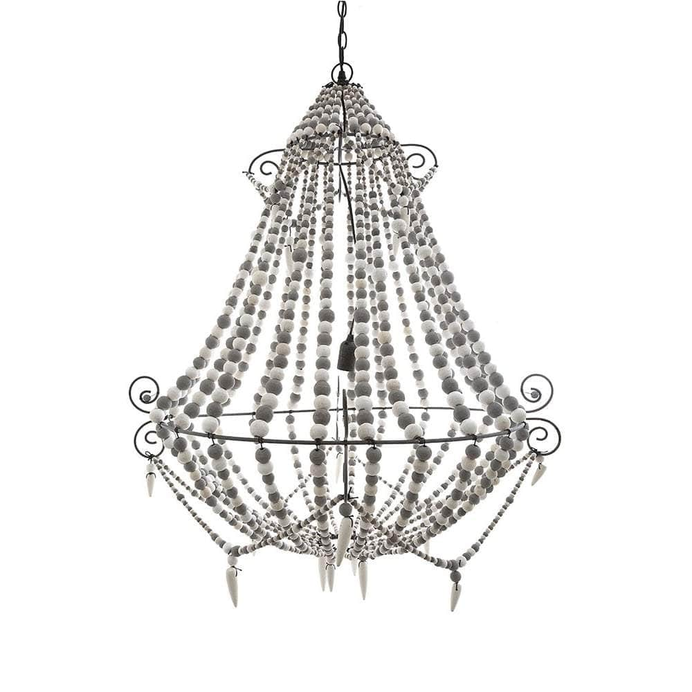 Grey and White Beaded Chandelier
