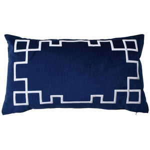 Palm Springs Navy Rect. Cushion Cover with Feather Insert