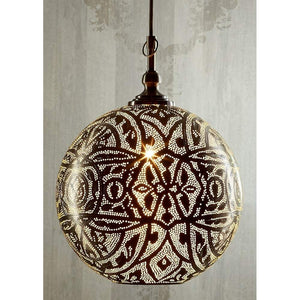 Moroccan Ball Ceiling Lamp Silver