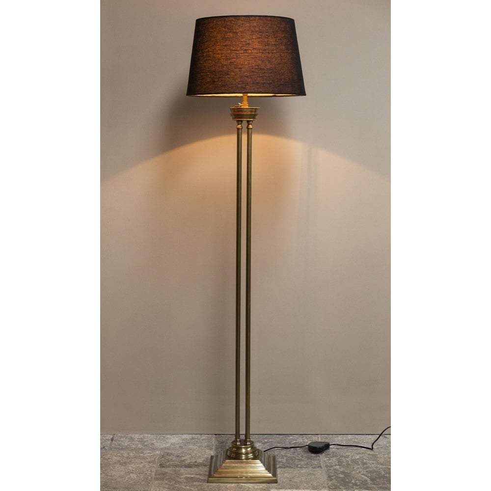 Hudson Floor Lamp Base Antique Brass