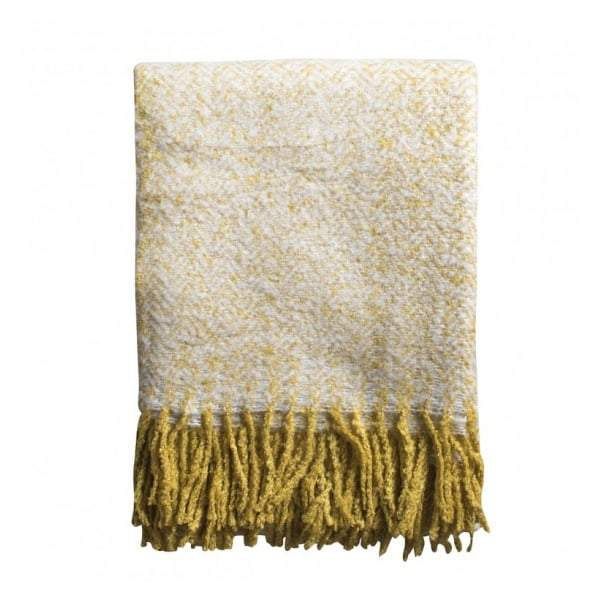Herringbone Mohair Throw Ochre W1300 x H1800mm