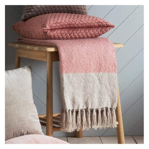 Tonal Mohair Throw Blush & Silver W1300 x H1800mm