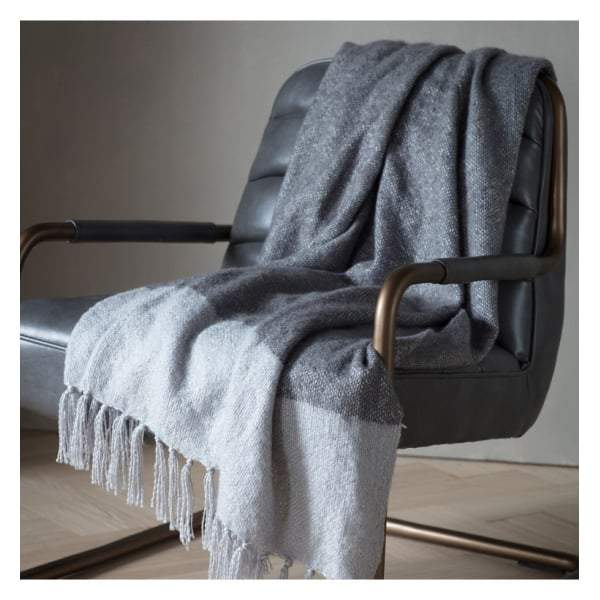 Tonal Mohair Throw Slate & Silver W1300 x H1800mm - House of Isabella AU