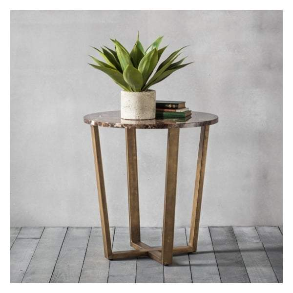 Essen Round Side Table Marble W520 x D520 x H555mm - House of Isabella AU