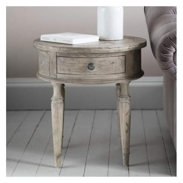 Makassar Round 1 Drawer Side Table W530 x D530 x H560mm - House of Isabella AU