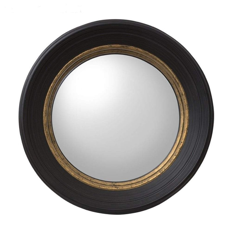 Round Wall Mirror with Black/Gold Frame