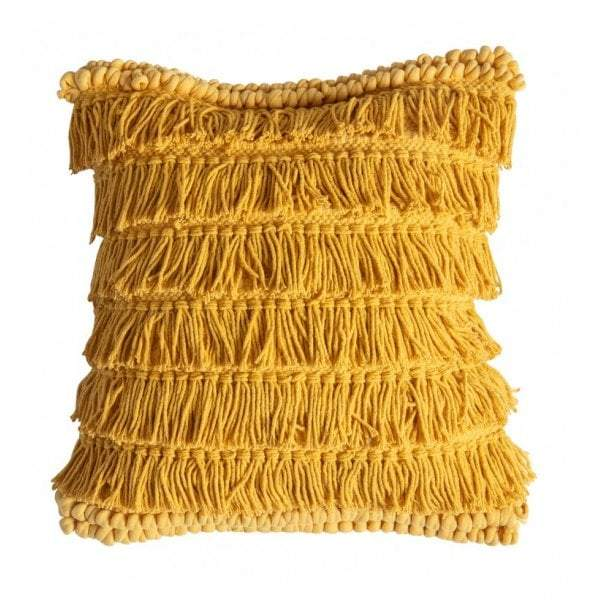 Tallara Fringed Cushion Ochre - House of Isabella AU