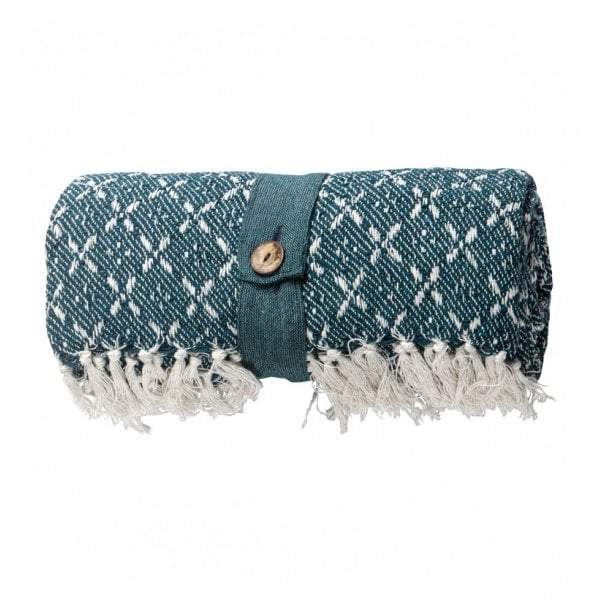 Cotton Organic Throw Teal - House of Isabella AU