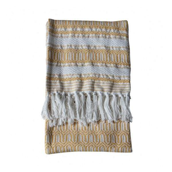 Elmer Cotton Slub Throw Ochre - House of Isabella AU