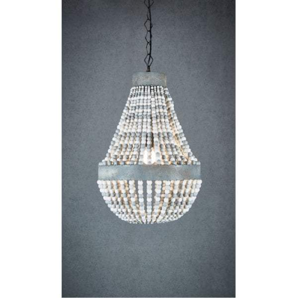 Kasbah Oval White Beaded Hanging Lamp