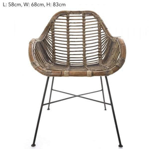 Rattan Chair Iron Grey 58x68x83