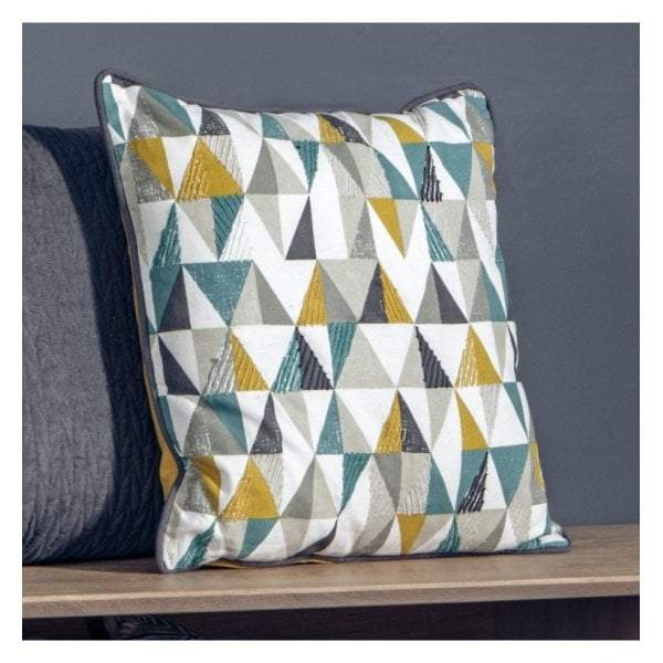 Sault Triangle Cushion Teal & Ochre 450x450mm