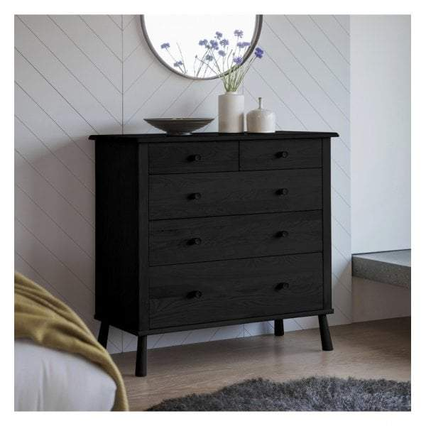 Walter 5 Drawer Chest Black