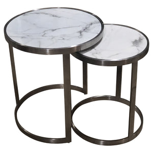 Sterling Side Table Set White Marble