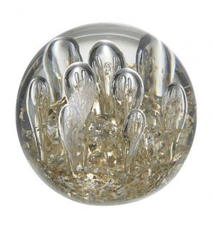 Bubbles Paperweight Clear and Gold