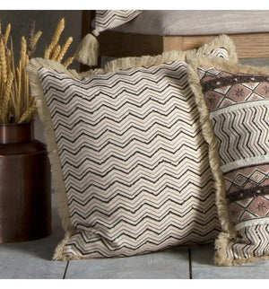 Johari Embroidered Cushion Natural & Black