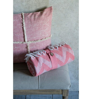 Cotton Chevron Throw Blush