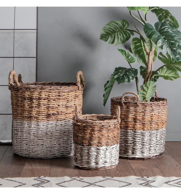 Ramon Baskets White and Natural (Set of 3)