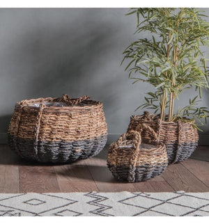 Elorza Baskets Black and Natural (Set of 3)