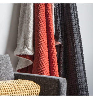 Cubic Embossed Sherpa Throw B Orange