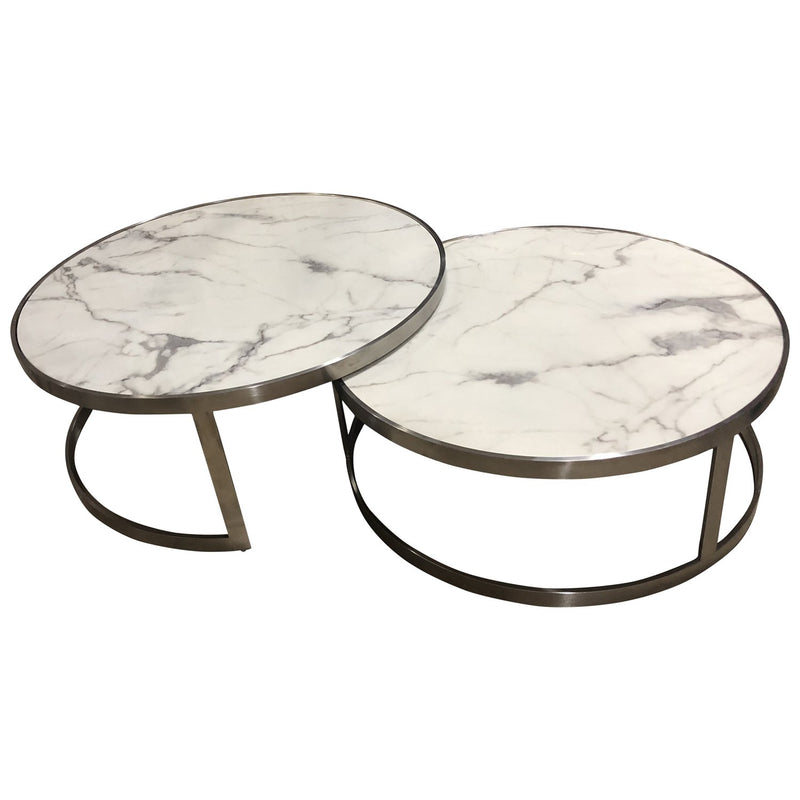 Sterling Coffee Table Set White Marble - House of Isabella AU