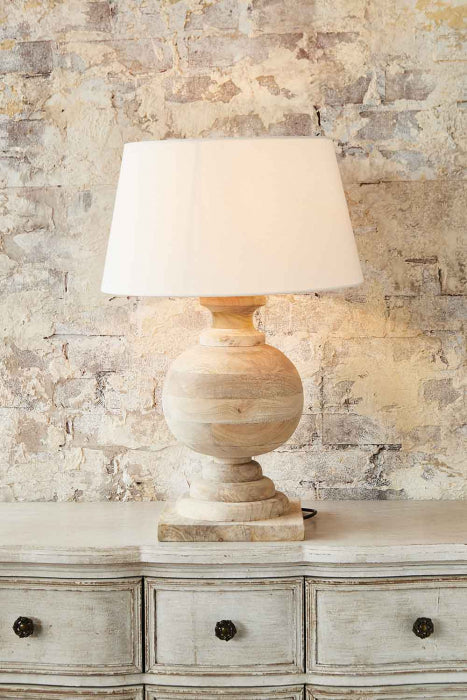 Coach Base Only - Natural - Turned Wood Ball Balustrade Table Lamp Base Only - House of Isabella AU