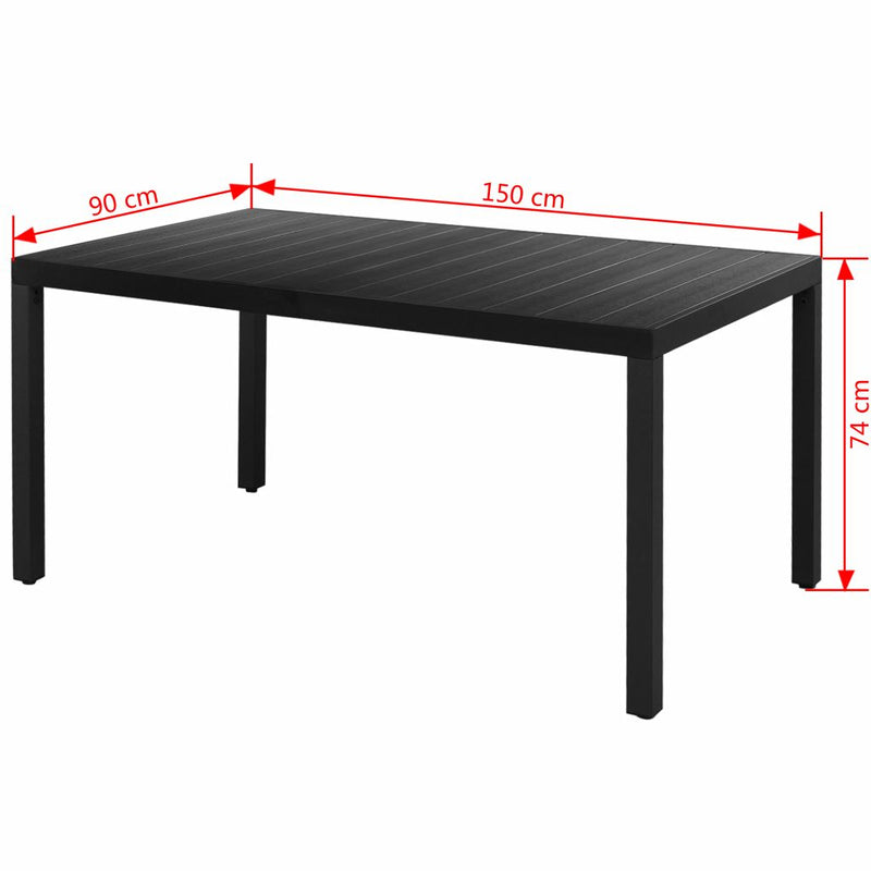 vidaXL Garden Table Black 150x90x74 cm Aluminium and WPC - House of Isabella AU