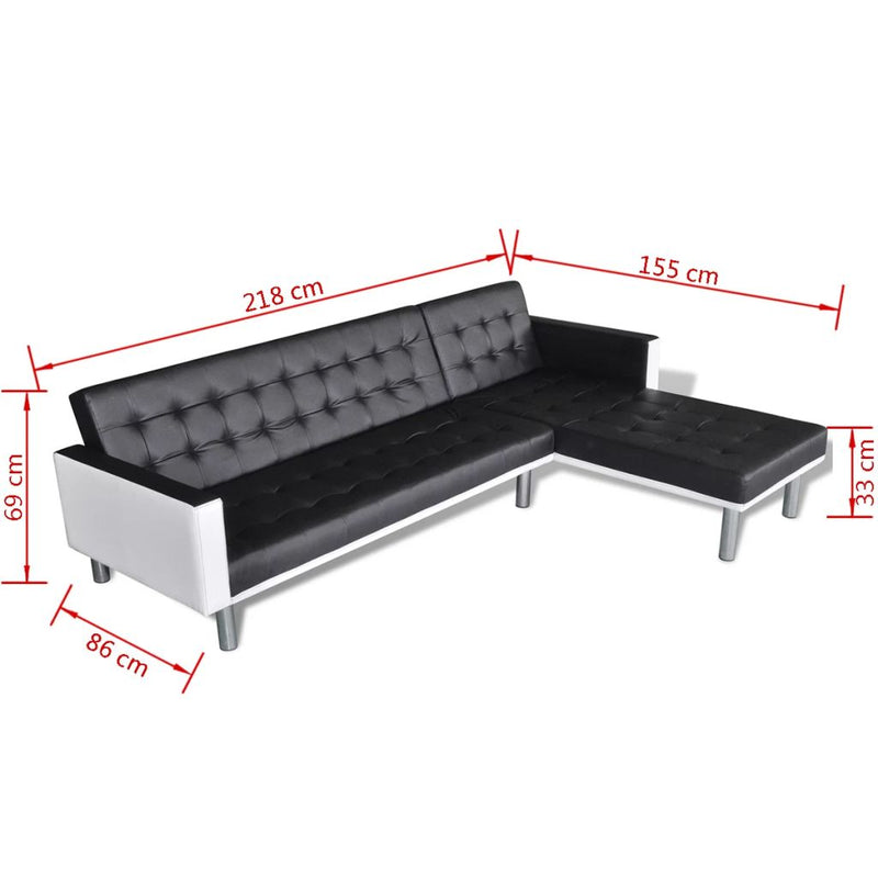 vidaXL L-shaped Sofa Bed Faux Leather Black - House of Isabella AU