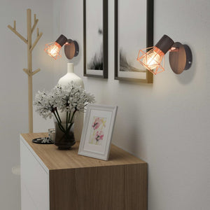 vidaXL Wall Lamp 2 pcs E14 Black and Copper